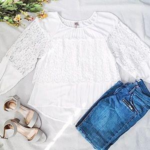 XCVI Tunic Top White Lace Sheer Blouse 432